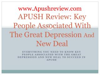 APUSH Review: Key People Associated With The  Great Depression  And  New  Deal