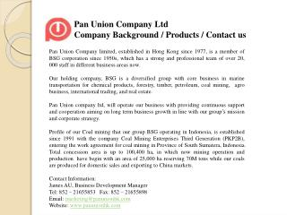 Pan Union Company Ltd Company Background / Products / Contact us