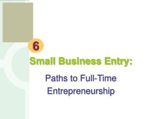 Small Business Entry: Paths to Full-Time Entrepreneurship