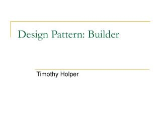 Design Pattern: Builder