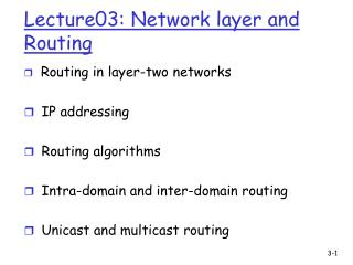 Lecture03: Network layer and Routing