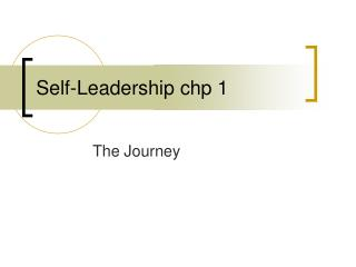 Self-Leadership chp 1