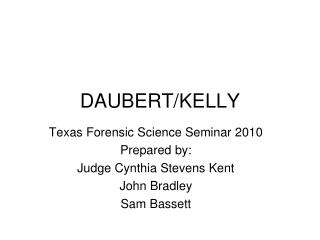 DAUBERT/KELLY