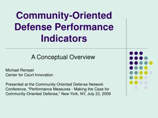 Community-Oriented Defense Performance Indicators