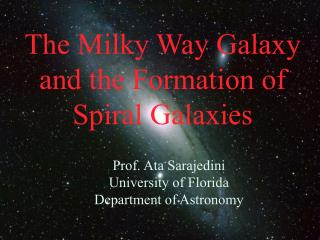 The Milky Way Galaxy and the Formation of Spiral Galaxies