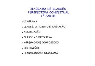DIAGRAMA DE CLASSES  PERSPECTIVA CONCEITUAL 1ª PARTE