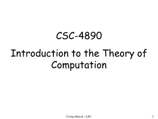 CSC-4890 Introduction to the Theory of Computation