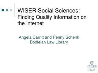 WISER Social Sciences:  Finding Quality Information on the Internet