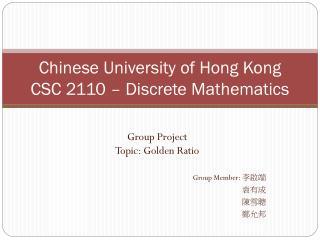 Chinese University of Hong Kong CSC 2110 – Discrete Mathematics