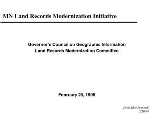 MN Land Records Modernization Initiative