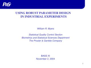 William R. Myers Statistical Quality Control Section