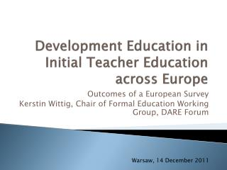 Development Education in Initial Teacher Education across Europe