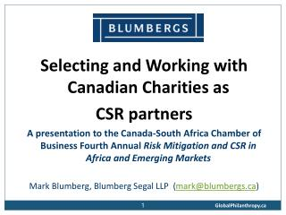 Selecting and Working with Canadian Charities as  CSR partners