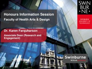 Honours Information Session  Faculty of Health Arts & Design