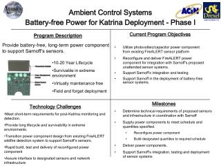 Ambient Control Systems Battery-free Power for Katrina Deployment - Phase I