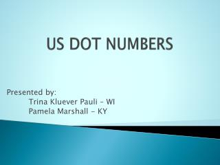 US DOT NUMBERS