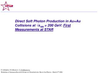 Direct Soft Photon Production in Au+Au Collisions at ?s NN  = 200 GeV:  First Measurements at STAR