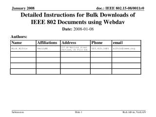 Detailed Instructions for Bulk Downloads of IEEE 802 Documents using Webdav