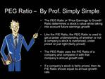 PEG Ratio    By Prof. Simply Simple