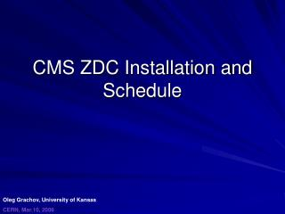 CMS ZDC Installation and Schedule