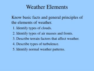 Weather Elements