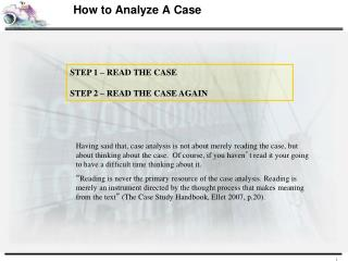 How to Analyze A Case