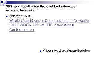GPS-less Localization Protocol for Underwater Acoustic Networks