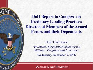 DoD Report to Congress on Predatory Lending Practices Directed at Members of the Armed Forces and their Dependents