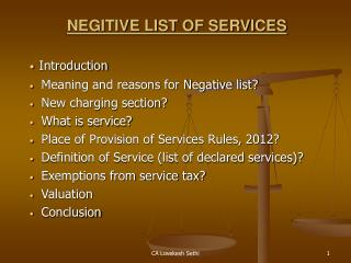 NEGITIVE LIST OF SERVICES