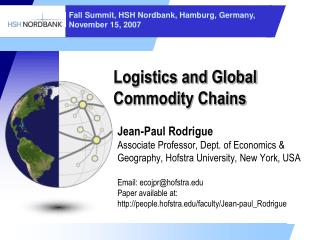 Logistics and Global Commodity Chains