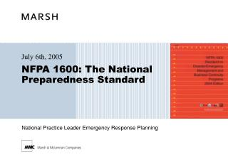 NFPA 1600: The National Preparedness Standard