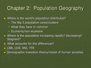Chapter 2:  Population Geography
