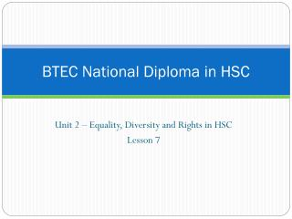 BTEC National Diploma in HSC