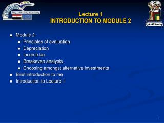 Lecture 1 INTRODUCTION TO MODULE 2