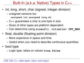 Built-In (a.k.a. Native) Types in C++