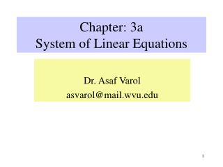 Chapter: 3a System of Linear Equations