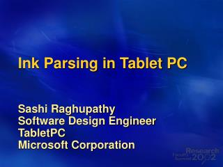 Ink Parsing in Tablet PC