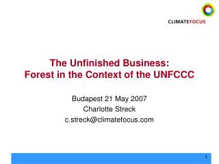The Unfinished Business:  Forest in the Context of the UNFCCC