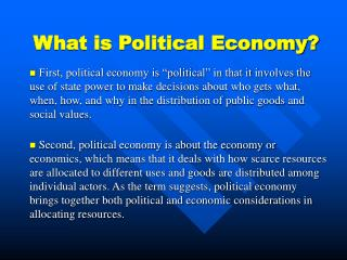 What is Political Economy?