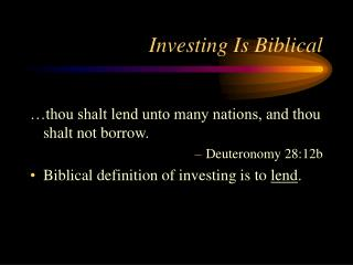 Investing Is Biblical