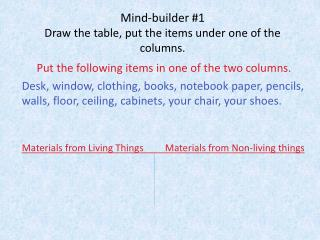 Mind-builder #1 Draw the table, put the items under one of the columns.