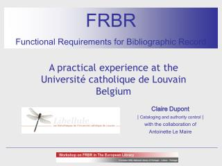 FRBR Functional Requirements for Bibliographic Record