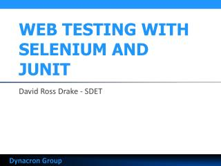 WEB TESTING WITH SELENIUM AND JUNIT