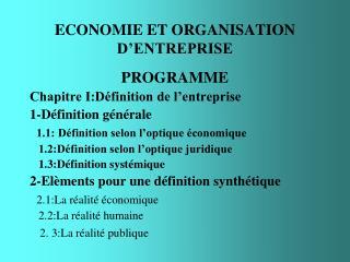 ECONOMIE ET ORGANISATION D'ENTREPRISE