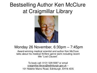 Bestselling Author Ken McClure at Craigmillar Library