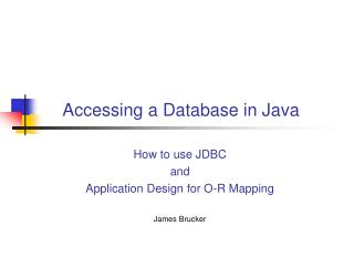 Accessing a Database in Java