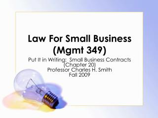 Law For Small Business (Mgmt 349)