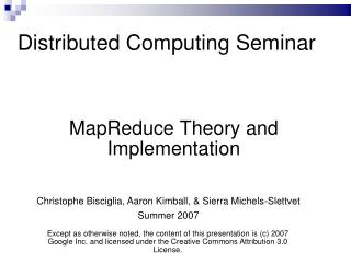 Distributed Computing Seminar