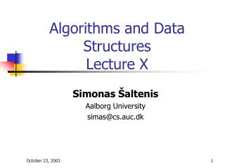 Algorithms and Data Structures Lecture X