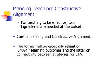Planning Teaching: Constructive Alignment
